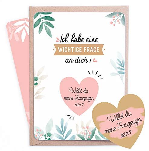 Rubbelkarte Trauzeugin - goldenes Hertz   Willst du meine Trauzeugin sein ?   Hochzeit - Hochzeitskarte - Trauzeugin fragen - Geschenke für Trauzeugin