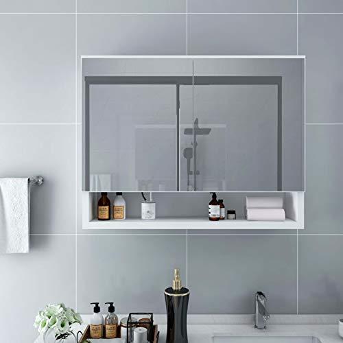 Irfora LED-Bad-Spiegelschrank LED-Kosmetikspiegelschrank Wandspiegelschrank Spiegel Schrank Badezimmer-Spiegelschrank Weiß 80x15x60 cm MDF für Make-up-Anwendungen