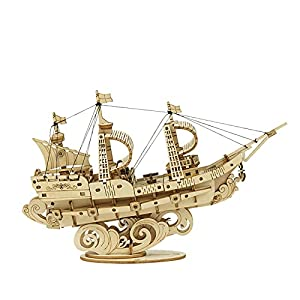 ROBOTIME 3D Wooden Puzzle 7.9'' Sailboat Model Kit to Build Educational Hobby Toy for Teens Age 8+ (118 Pieces)