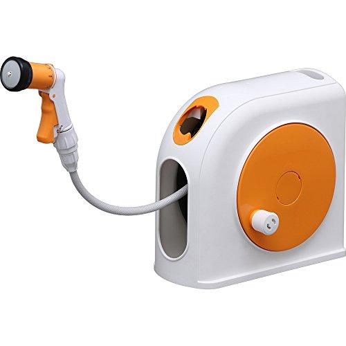アイリスオーヤマ ホース リール 温水対応ホースリール OCHR-15 ホワイト/オレンジ 水やり 洗車 掃除 軽い すっきり収納