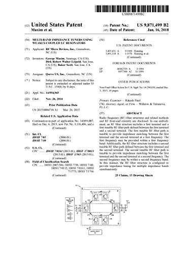 Multi-band impedance tuners using weakly-coupled LC resonators: United States Patent 9871499 (English Edition)