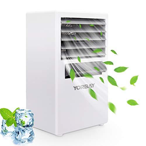Yorbay Mini Condizionatore Portatile, 3 Velocità, 4 in 1 Raffrescatore Ventilatore Umidificatore Macchina per aromaterapia,per Casa/Ufficio/Camper