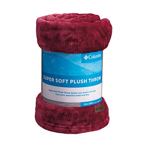Columbia Super Soft Plush Throw Cozy Flannel Fleece Blanket, 50' x 60', Chianti Red