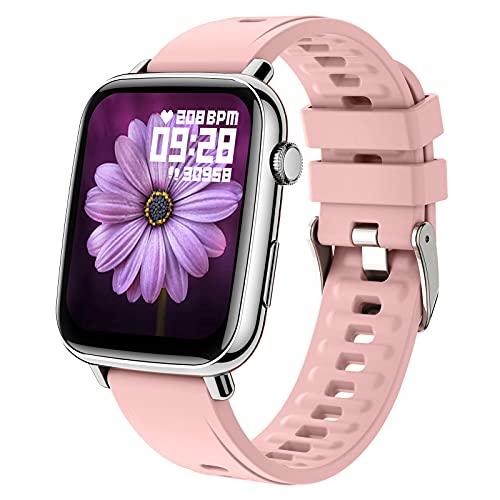 BNMY Reloj Inteligente Pantalla 1.69' Smartwatch, Reloj Deportivo para Hombre Mujer, Pulsera Actividad con Monitor De Sueño Pulsómetro Podómetro, Notificación Inteligente, Impermeable IP68,Rosado