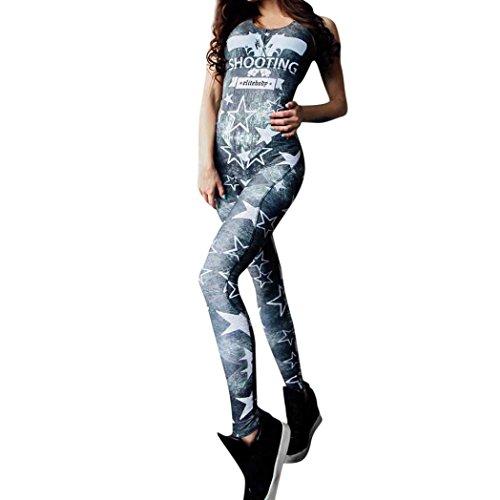 Damen Fitness Yoga Jumpsuit, Amlaiworld Mode Jogging lang Bodys Ärmellos Elastische Leggings Overall Sport Sommer Spielanzug elegant Sterne drucken Romper Jumper Frauen Schießen Bodysuit (Blau, XL)