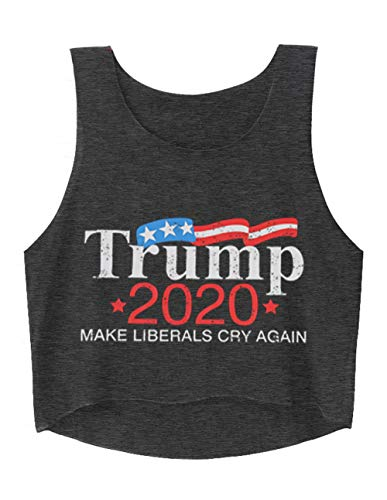 Trump Shirt for Women American Flag Print Sexy Sleeveless Tank Crop Tops Cute Workout T Shirt for 4th of July (M, Grey)