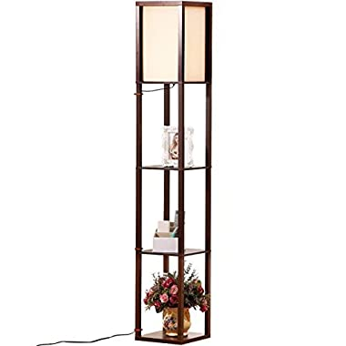 Brightech - Maxwell LED Shelf Floor Lamp - Asian Wooden Frame with Open Box Display Shelves - Alexa Compatible, Modern Standing Light for Living Rooms & Bedrooms - Havana Brown