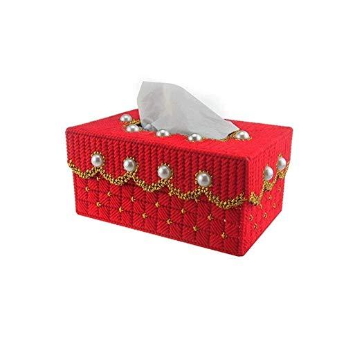 Soporte de Caja de Pañuelos para Casa Caja de pañuelos, ambientalmente amistoso caja de pañuelos Resina bordado bandeja Salón Dormitorio restaurante boda Servilleta Bandeja de gasa, fácil de usar