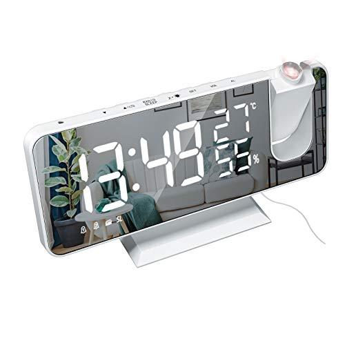 XFTOPSE Rádio relógio, despertador digital com projeção de LED para quarto, relógio espelhado digital com carregador USB, despertador com função dupla de temperatura e umidade para pessoas com sono pesado, com 4 reguladores de intensidade de luz, com 180° de projeção