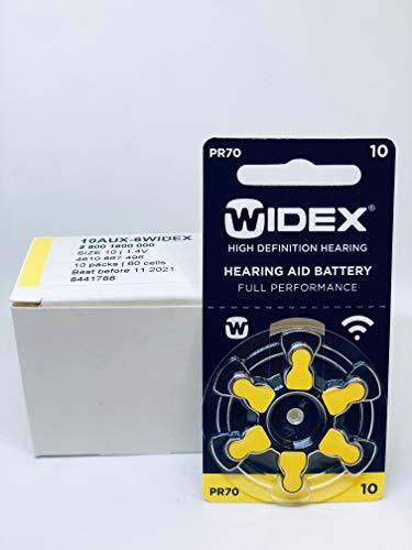 60 Pile Batterie per Apparecchi Acustici 10 Zas (gialle) PR70 1.45 V. Senza Mercurio. Lunga Scadenza.