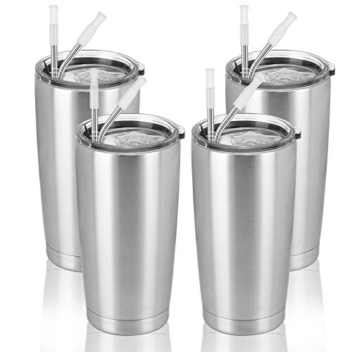 4 Pack Travel Tumblers with 8 Lids, Stainless Steel Double Wall Vacuum Travel Tumbler for Home...