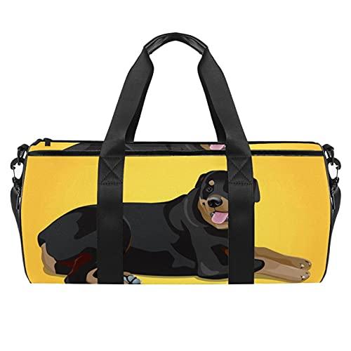 Borse da spiaggia da viaggio, grande sport palestra durante la notte Duffle cane giallo stampa animale borsa a tracolla con tasca asciutta bagnata