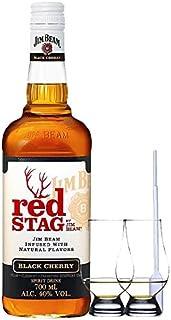 Jim Beam Red Stag Black Cherry 0,7 Liter  2 Glencairn Gläser  Einwegpipette 1 Stück