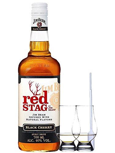 Jim Beam Red Stag Black Cherry 0,7 Liter + 2 Glencairn Gläser + Einwegpipette 1 Stück