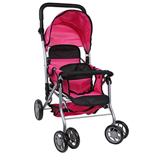Mommy & Me Twin Baby Doll Stroller - Back to Back Foldable Carriage with Swiveling Wheels, Basket, Adjustable Handle, and Diaper Bag