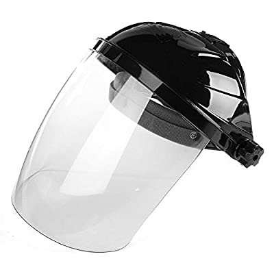 Safety Face Shield Grinding Visor,Adjustable Welding Grinding Helmet with Ratchet Headgear,Clear Anti-Fog Window,Full Face Grinding Shield Plasma Cutting/Grinding,Eye And Head Protection(Black)