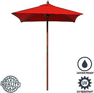 Above All Advertising, Inc. AAA Best 4 Feet Brolliz Square Wood Market Umbrella - Outdoor Garden Patio Umbrella (Red)