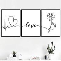 愛の引用レターアート白黒ポスター抽象フラワーキャンバスプリントシンプルな壁画絵画北欧の家の装飾60x95cmx3Pcsフレームなし