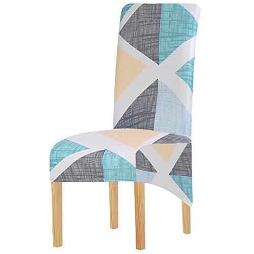 Fundas elásticas de licra XL para sillas de comedor, con rayas geométricas elásticas, extraíbles, lavables, cortas, para cocina, bar, hotel y bodas (Multi12, juego de 2)