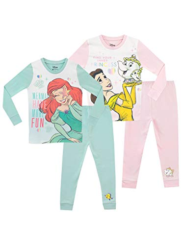 Disney Pijamas para Niñas 2 Paquetes Ariel y Belle Multicolor 6-7 Años