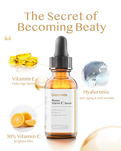 41x01ntfxVL - 30% Vitamin C Serum for Face and Skin, Anti-Aging Anti-Wrinkle Natural Face Serum with Hyaluronic Acid, Vitamin E- Fades Age Spots, Brighten Skin Tone, 1 fl oz