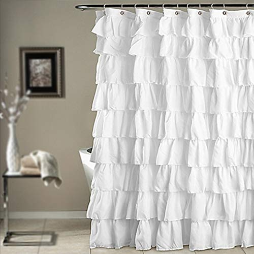 MOOUK Duschvorhang, mit Rüschen, wasserdicht, Weiß, 180 x 180 cm