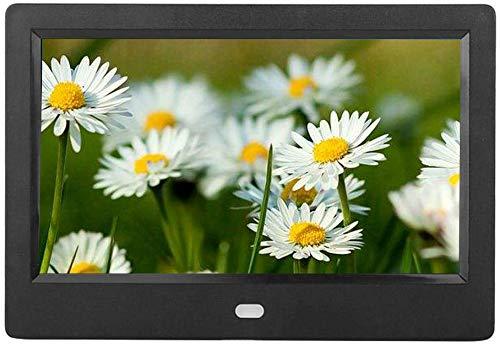 Digitaler Bilderrahmen 7 Zoll, 16: 9 Digitaler Bilderrahmen, elektronischer Foto-/Musik-/Videorahmen mit Fernbedienung Einstellbare Helligkeit Uhr Kalenderanzeige Unterstützung 1080P Vides(EU-Stecker)
