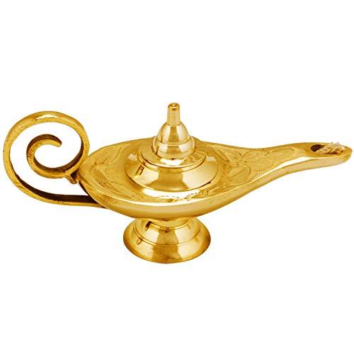 Orientalische Aladdin Wunderlampe Öllampe Jini 15cm klein Gold | Arabische Genie Lampe aus Messing massiv | Indische Deko Aladin Genielampe als Hochzeit Tischdeko oder Fensterdeko im Kinderzimmer