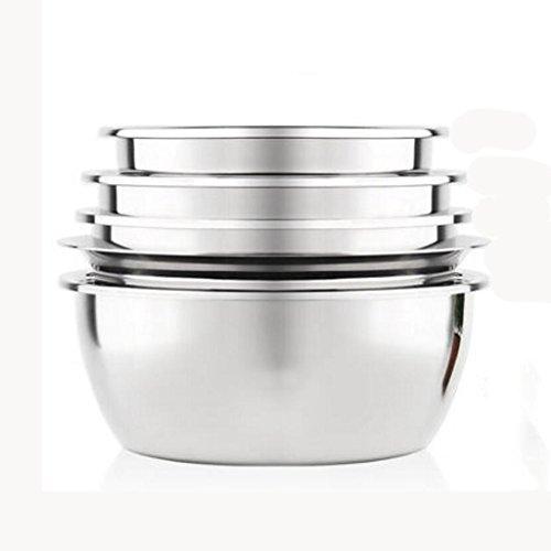 MXJ61 Bassin en Acier Inoxydable Rond épais Maison Cuisine Lavage Riz Laver Les légumes Dégiver Basin Soup Basin 5 Pcs/Set (Taille : 20cm-26cm)