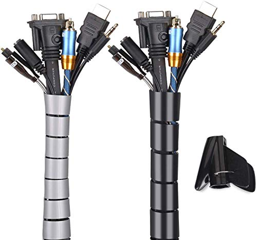 Nyfcc - Fundas para cables (2 x 152 cm, para organizar cables, para PC, TV, hogar, oficina, etc., Negro y gris, 0.87' and 0.63' 60'