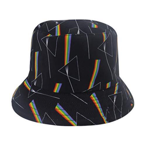H/A Gorra de pescador con estampado geométrico triángulo para hombre y mujer con estampado vintage Panamá gorra reversible retro hip hop AZHAA (color: negro, tamaño: 56-58 cm)