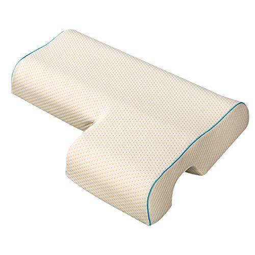 Almohada de espuma viscoelástica para parejas, almohada arqueada con almohada de rebote lento para dormir, para reposabrazos, soporte cervical para cuello, almohada antipresión, carne,lado derecho