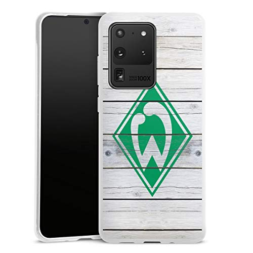 DeinDesign Silikon Hülle kompatibel mit Samsung Galaxy S20 Ultra Case weiß Handyhülle Offizielles Lizenzprodukt SV Werder Bremen Holzoptik