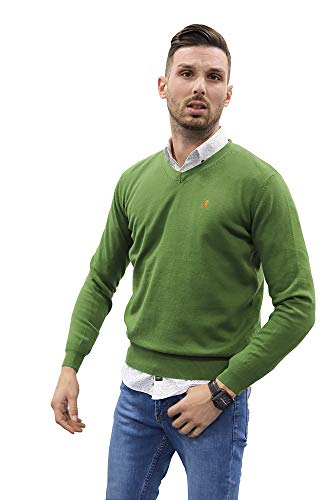 Jersey de Hombre Cuello Pico de Algodon Manga Larga de Marca Modelo Basico para Vestir Punto Fino (VERDERON, M)