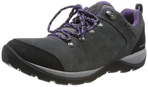 Columbia FIRE VENTURE S II Zapatos de senderismo impermeables para mujer, Gris(Titanium MHW, Plum Purple), 40 EU