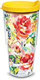Tervis 1244394 Fiesta - Floral Bouquet Tumbler with Wrap and Yellow Lid 24oz, Clear