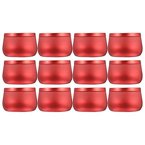 VORCOOL 12 Unidades de Latas de Almacenamiento 8Oz Caja de Dulces de Lata con Tapas Superiores de Tornillo Envases de Muestra Cosméticos Rojos Metal Vacío Vela Flor Plantas Joyas Tarros