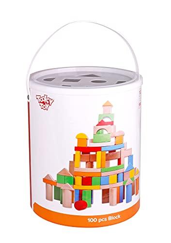 Tooky Toy - Blocchi di Legno colorati nel tamburo, 100 Parti