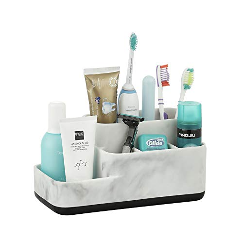 ZCCZ Bathroom Organizer Trays Caddy Countertop, Toothbrush Holder Stand Organizer Makeup Brushes Holder for Bathroom Vanity Storage and Organizing, White Marble Look