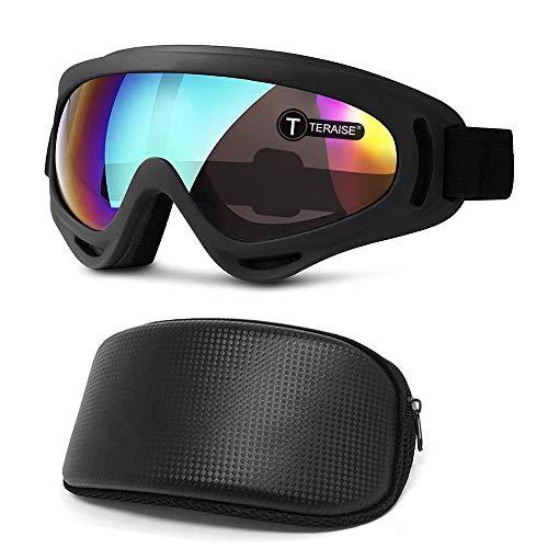 TERAISE Skibrille Schneebrillen FüR Skifahren Snowboarden Motorradfahren & Wintersport,Einstellbare Uv400 Schutz Winddicht Staubdicht Anti-Fog-Sonnenbrille