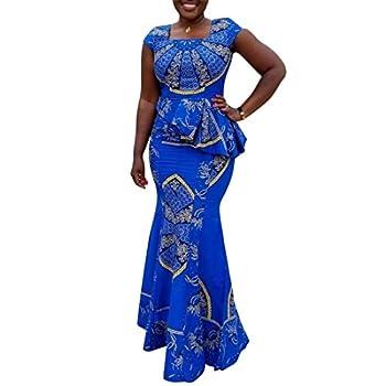 VERWIN African Dress Cap Sleeve Square Neck Floor-Length Geometric Mermaid Maxi Dress Long Dress M Blue