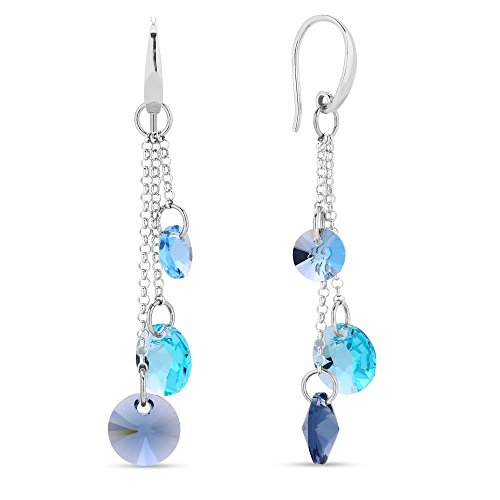 Swarovski Elements leichter Damen Ohrring lang hängend multicolor Blautöne, Silber 925, by Spark