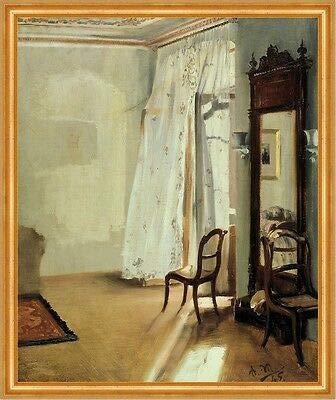Kunstdruck The Balcony Room Adolph Menzel Zimmer Vorhang Balkon Spiegel Stuhl B A2 00220