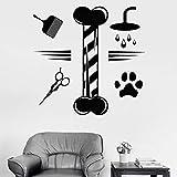 Calcomanía de pared para el aseo de mascotas, salón de aseo de animales, tienda de mascotas, decoración de interiores, vinilo, ventana, pegatina de vidrio, Mural artístico