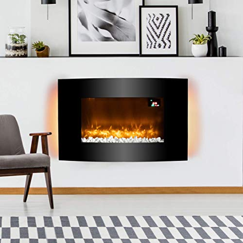 Warmlite WL45038 Glasgow Curved Glass Wall Mounted Fireplace, Remote Control Operated with 2 Heat Settings, LED Flame Effect and 6 Colour Mood Lighting, Black