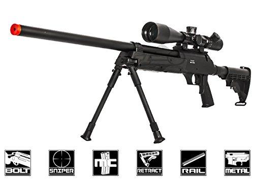 Well Full Metal ASR MB06 SR-2 Bolt Action Sniper Rifle Airsoft Gun (Black  Bipod Package)