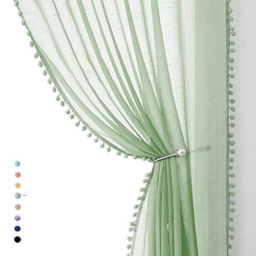 "Treatmentex Green Sheer Curtains for Kids-Room 63 inches Slub Textured Pom Pom Window Drapes for Bedroom Sage 52"" W x 2 Panels Rod Pocket"
