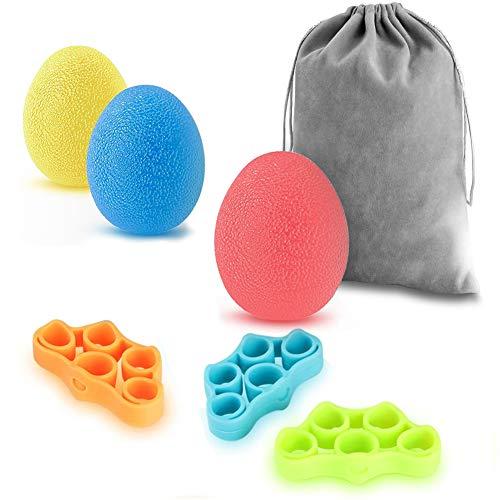 Newlemo Balle Anti Stress, Objet Anti Stress - 3 Boule Antistress et 3 Exerciseur de Doigts pour Adultes et Enfants - Soulagement du Stress, Augmentation de la Force, Amélioration de la Dextérité