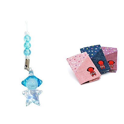 [2点セット] ガラスのさるぼぼ 手作りキーホルダー 【青】・おねがいさるぼぼ カードケース【エンジ】