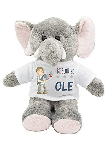 Kilala Elefant Kuscheltier für die Zuckertüte Schultüte mit Wunschname zur Einschulung Glücksbringer
